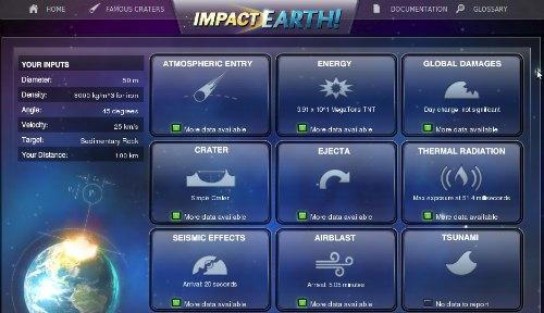 efectos fisicos del impacto de un asteroide