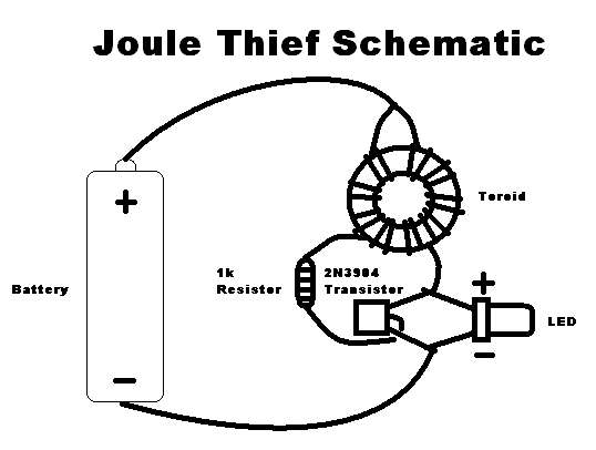 esquema electronico joule thief