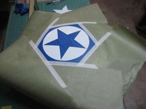 imprimacion estrella azul en el escudo antena