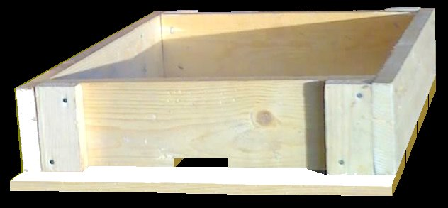 Vista del piso de la colmena casera