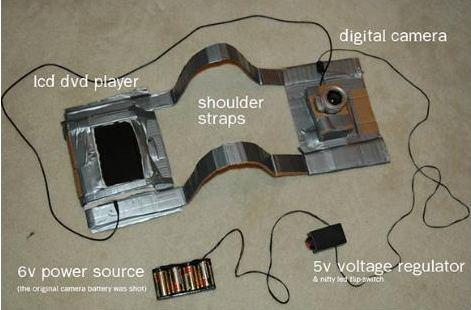Una simple cámara conectada a una pantalla LCD de DVD.