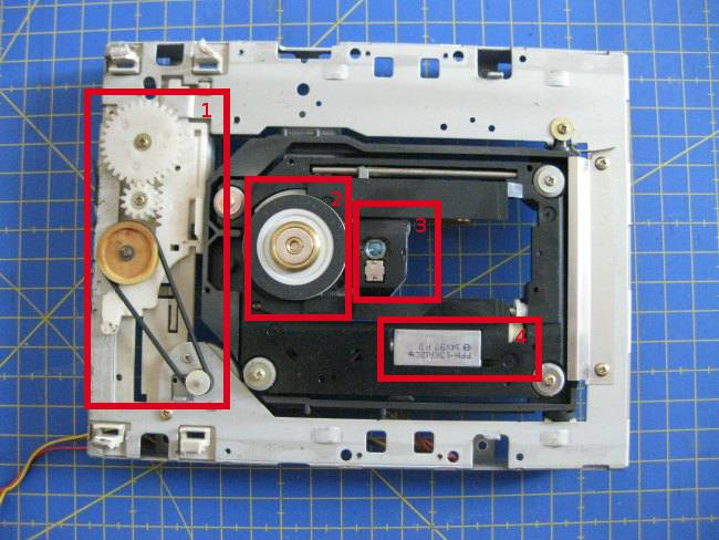 Parte frontal y despiece del lector de un lector de CD