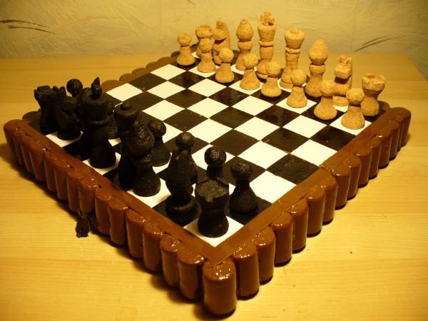 tablero de ajedrez casero con tapones