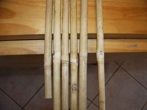 preparación de flechas de bambú