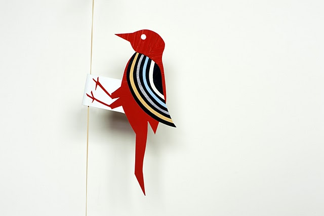 juguete de papel pajaro carpintero
