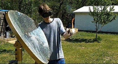 rayo solar con espejos