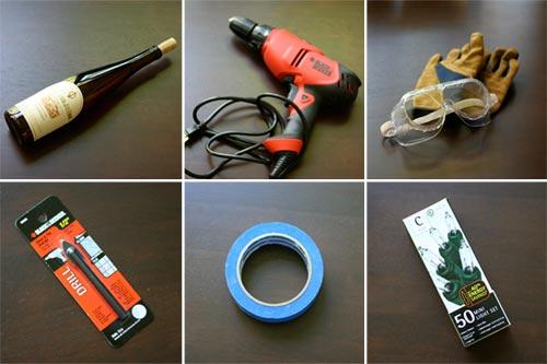 materiales necesarios para la botella de luces de navidad