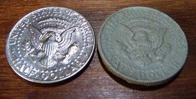 replica de moneda con epoxi