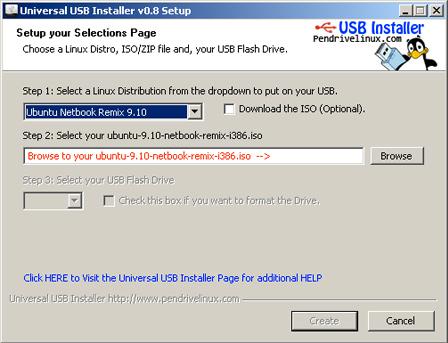 seleccionar distribución linux para el instalador usb