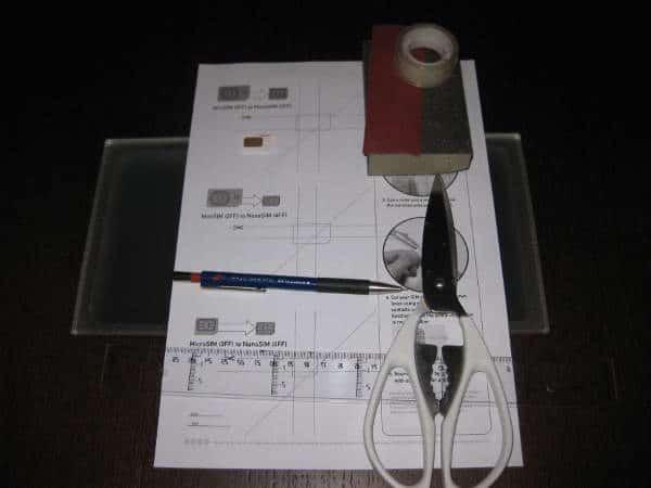 Materiales para cortar tarjeta SIM a micro SIM y nano SIM