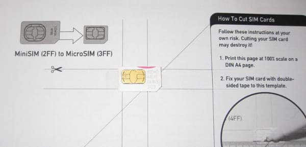 Plantilla para cortar la tarjeta SIM
