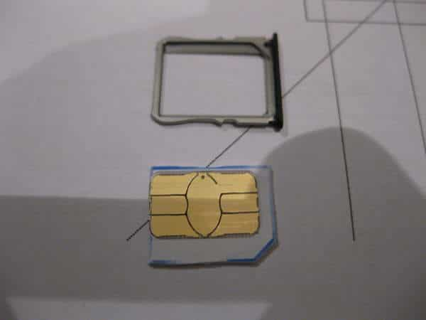 tarjeta SIM cortada