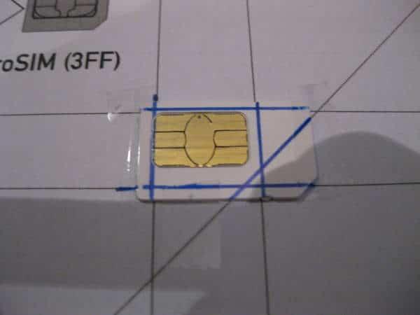 tarjeta marcada para micro SIM