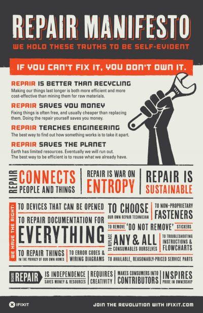 manifiesto defendiendo el derecho de los ousuarios a la reparación de los objetos . Manifiesto de autorreparación de ifixit