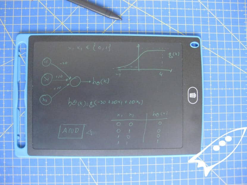 LCD writing tablet para tomar apuntes del curso de machine learning