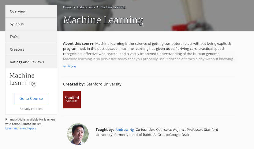 He acabado el curso de Machine Learning de Coursera