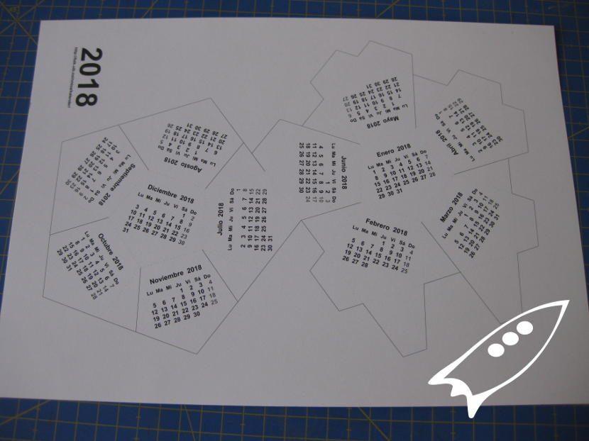 plantilla A$ calendario anual 2018 dodecaedro