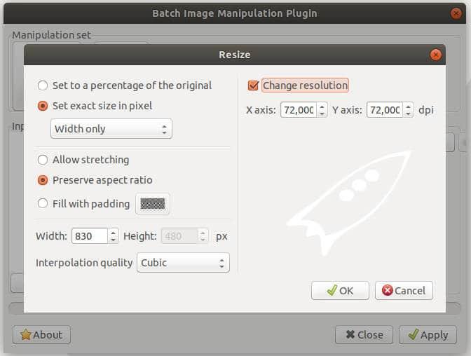 menú redimensionar o escalar imagen con bimg gimp
