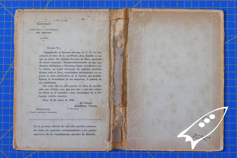 restauración y encolado del libro