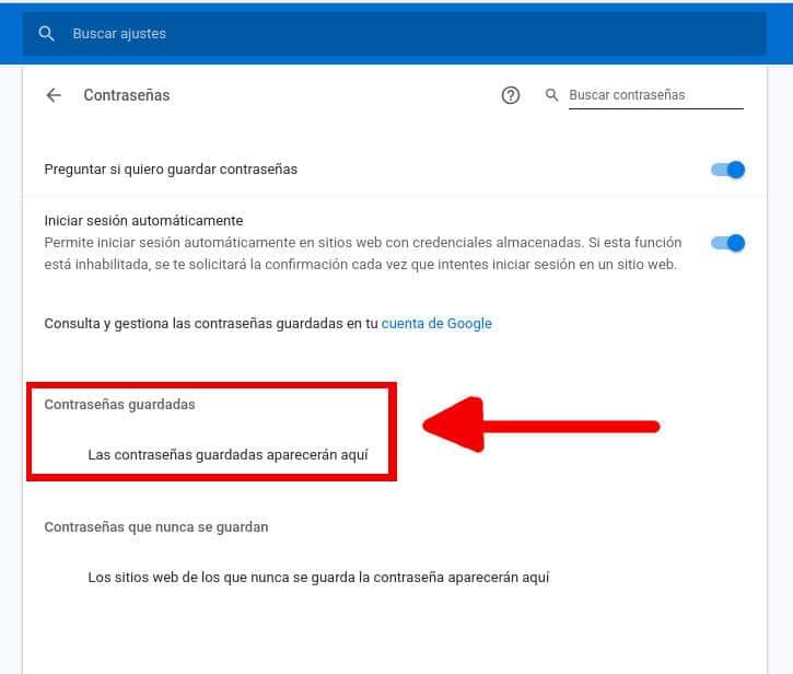 Como ver contraseñas ocultas guardadas en Chrome