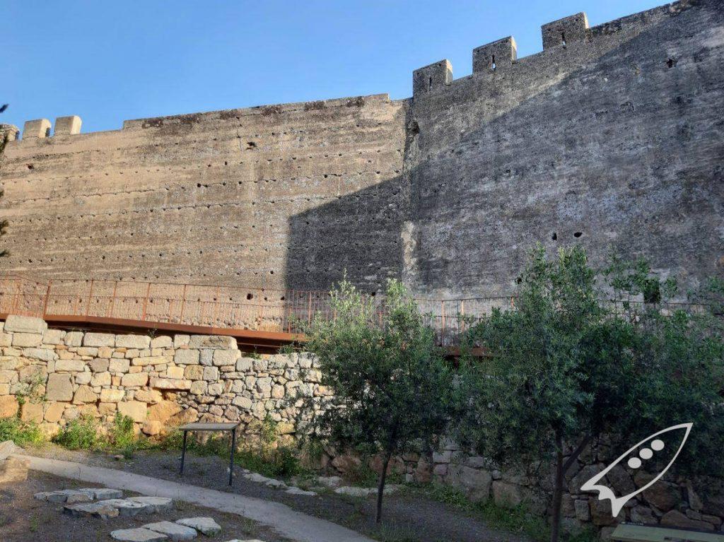 nidos de vencejos en los agujeros del muro del castillo