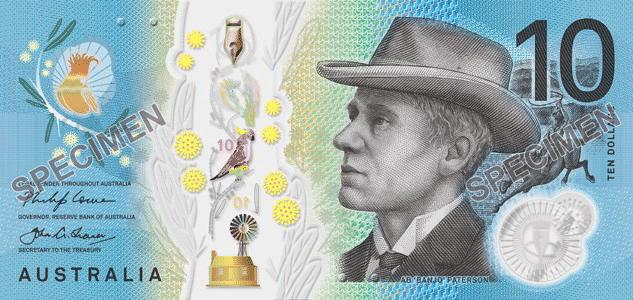 billete de polimero plástico de 10 dólares de Australia