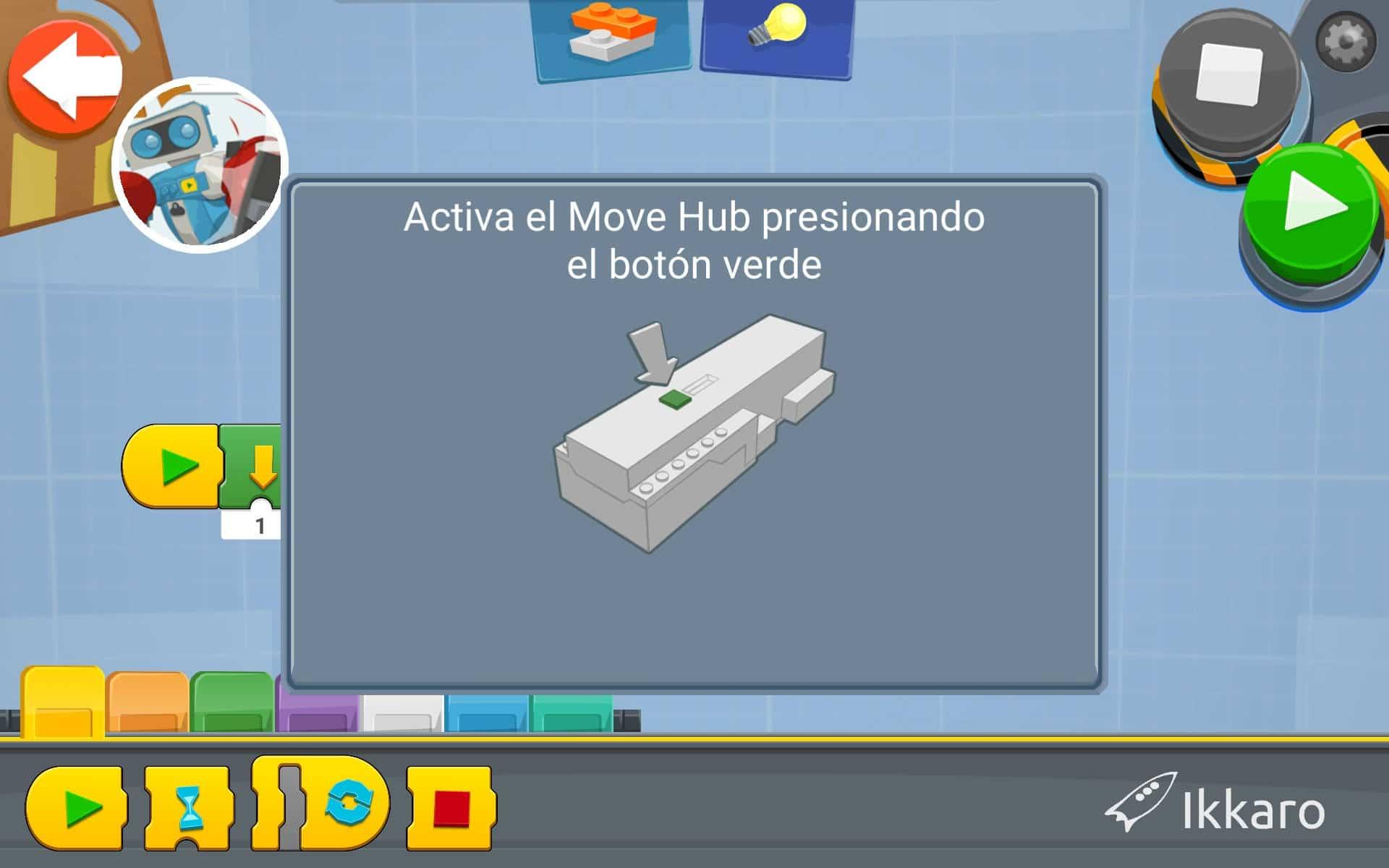 botón verde del move hub para conectar el bluetooth