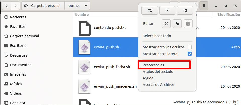preferencias del gestor de archivos